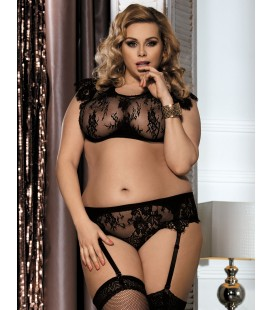 Plus Size Black Lace Halter Bra Set with bra rim
