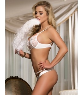 Queen Size White Eyelash Lace Bra Set