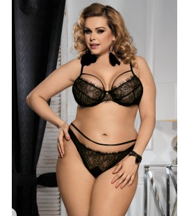 Plus Size Black Eyelash Lace Bra Set