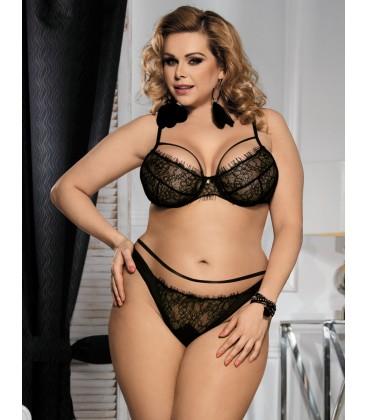3f89b280052 Buy Plus Size Black Eyelash Lace Bra Set- Plus size lingerie