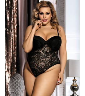 Black Plus Size Push-up Cup Lace Teddy