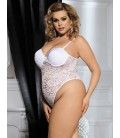 plus size lingerie White Plus Size Push Up Cup Lace Teddy