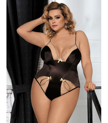 plus size lingerie Plus Size Brown Teddy With Two Holes Front
