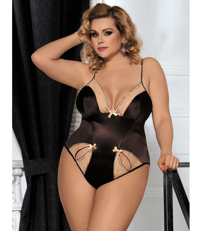 f11316ade9f Buy Plus Size Brown Teddy With Two Holes Front- Plus size lingerie