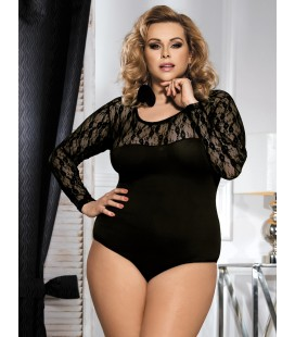 Plus Size Black Obstructed Teddy With Long Sleeve