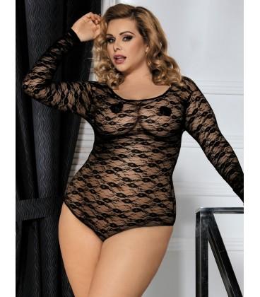 3eeb78f21a7 Buy Black Plus Size Sheer Long Sleeve Teddy Lingerie- Plus size