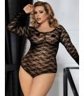 Black Plus Size Sheer Long Sleeve Teddy Lingerie