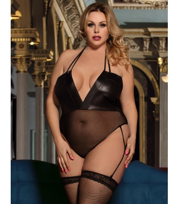 plus size lingerie Plus Size Faux Leather Stitching Sexy Teddy