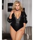 plus size lingerie Plus Size Black Deep V Collar bubble sleeve