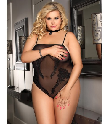 plus size lingerie Plus Size Black Floral Embroidered Sheer