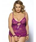 plus size lingerie Purple Plus Size Lace Teddy With A Front