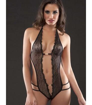 plus size lingerie Plus Size Crotchless Black Lace Teddy