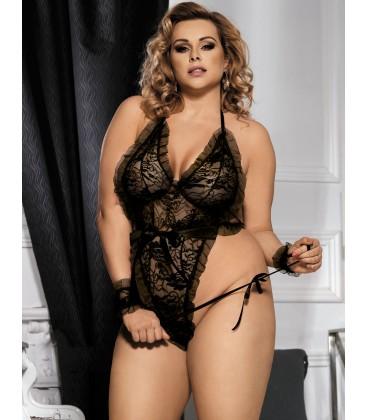 plus size lingerie Black Plus Size Floral Motif Teddy With
