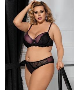 Plus Size Naughty Purple Bra Set