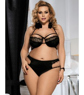 Plus Size Black Halter Sexy Bra Set With Eyelash