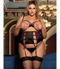 Plus size 3 piece open bust bra set with bra rim
