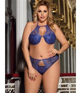 Plue size delicate lace bra set with bra rim and bra pad
