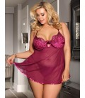 Plus Size Featuring Velvet Underwire Cups With A Scalloped Lace Trim Babydoll