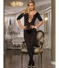 Plus Size Open Crotch Rose Pattern Lace Black Bodystockings