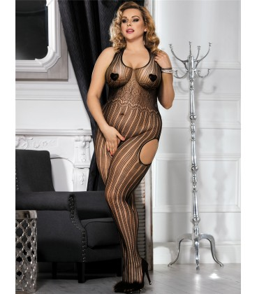 plus size black bodystocking
