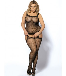 Plus size leopard patterned garter bodystockings