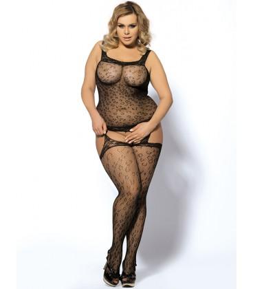 Plus size leopard patterned garter bodystockings