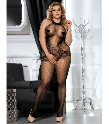 Plus Size Lace and Fishnet Turtleneck Bodystockings