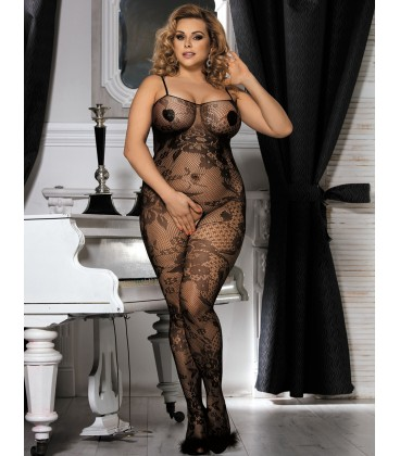 Plus Size Crotchless Floral Fishnet Bodystockings
