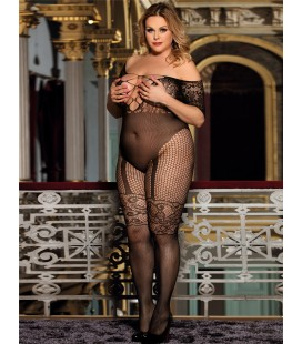 Plus Size Abstract Pattern Scoop Back Bodystocking
