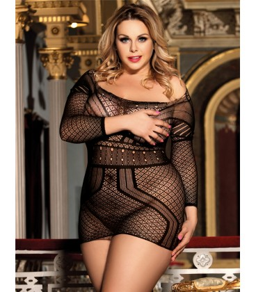 Plus Size Black Crotchet Mesh Hollow-out Backless Mini Chemise Dress