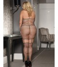 Plus Size Fashion Sparkle Fishnet Bodystocking