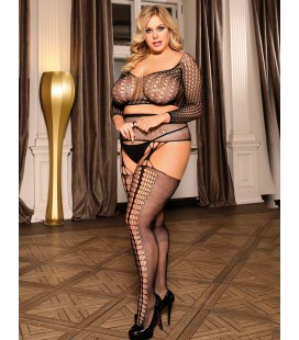 Plus Size Long Sleeve Split Sexy Fishnet BodyStocking