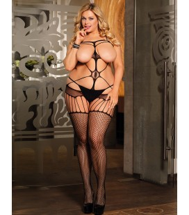 Plus Size Sexy Open The Bust Fishnet BodyStocking