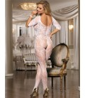 Plus Size Open Crotch Rose Pattern Lace White Bodystockings