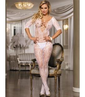 Plus Size Open Crotch Rose Pattern Lace White Bodystockings