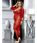 Plus Size Crotchless Floral Fishnet Red Bodystockings