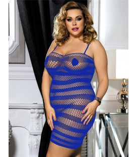 Plus size blue fishnet dress lingerie
