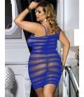 Plus size blue fishnet dress lingerie