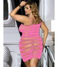 Plus size pink fishnet dress lingerie