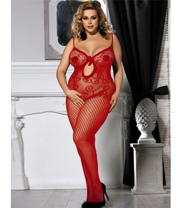 Plus Size Sexy Red Crocheted Fishnet Bodystockings