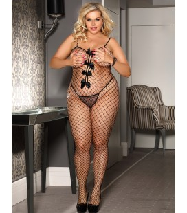 Plus Size Stretch Fishnet Crotchless Bowknot Bodystockings