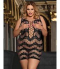 Plus size Crocheted Lace Hollow-out Chemise Dress
