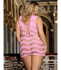 Crocheted Lace Hollow-out Pink Chemise Dress