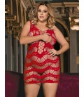 Plus size Crocheted Lace Hollow-out red Chemise Dress