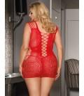 Plus Size Crotchet Mesh Hollow-out Mini Chemise red Dress