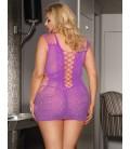 Plus Size Crotchet Mesh Hollow-out Mini Chemise pink Dress