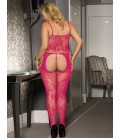 Plus Size Crotchless Fishnet Rose Red Bodystocking