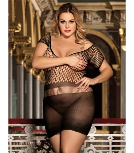 Plus Size Crotchet Mesh Hollow-out Mini Chemise Dress