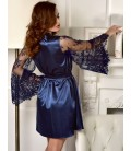 plus size lingerie Blue Plus Size Silky Home Pajamas With Waist